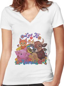 Love all Animals  Women's Fitted V-Neck T-Shirt
