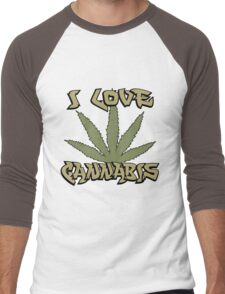 I Love Cannabis Marijuana Men's Baseball ¾ T-Shirt
