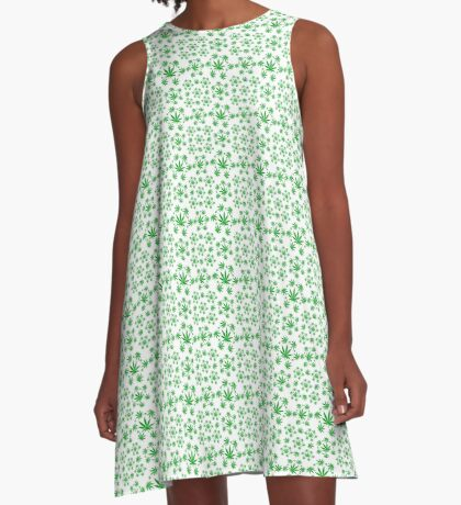 Marijuana Pattern A-Line Dress