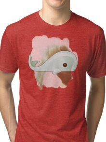 Cute Whale Watercolor and Drawing Sea Cartoon Design Tri-blend T-Shirt