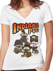 INDIANA PUG Women's Fitted V-Neck T-Shirt