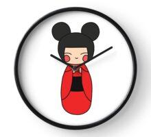 kokeshi. japanese traditional doll. doodle illustration Clock