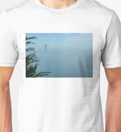 San Francisco Fog - Pale Blue Golden Gate Bridge View Unisex T-Shirt