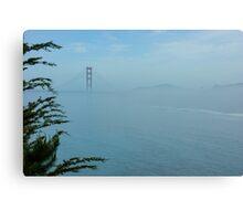 San Francisco Fog - Pale Blue Golden Gate Bridge View Canvas Print