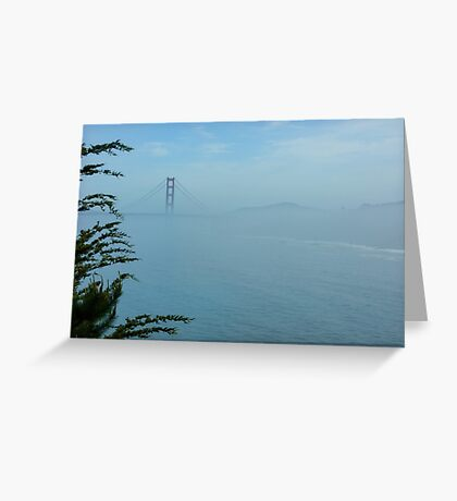 San Francisco Fog - Pale Blue Golden Gate Bridge View Greeting Card