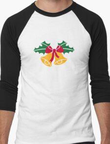 Christmas bells holly Men's Baseball ¾ T-Shirt