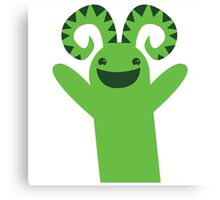 Happy green monster Canvas Print