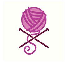 Knitter ball of wool pirate knitter crossbones (purple) Art Print