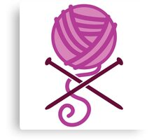 Knitter ball of wool pirate knitter crossbones (purple) Canvas Print