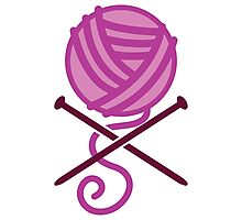 Knitter ball of wool pirate knitter crossbones (purple) Photographic Print