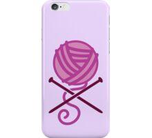 Knitter ball of wool pirate knitter crossbones (purple) iPhone Case/Skin