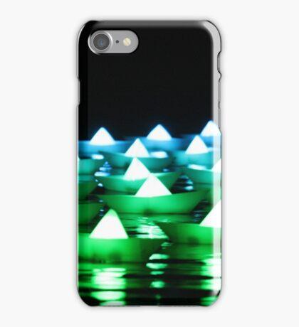 Green/Blue Paper Boats  iPhone Case/Skin