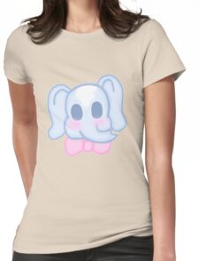 Kawaii Elephant in a bow  Womens Fitted T-Shirt