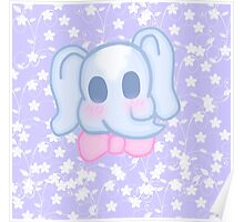 Kawaii Elephant in a bow  Poster