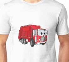 Red Smiling Garbage Truck Cartoon Unisex T-Shirt