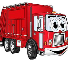 Red Smiling Garbage Truck Cartoon by Graphxpro