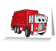 Red Smiling Garbage Truck Cartoon Greeting Card