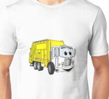 Yellow White Smiling Garbage Truck Cartoon Unisex T-Shirt