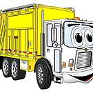 Yellow White Smiling Garbage Truck Cartoon by Graphxpro