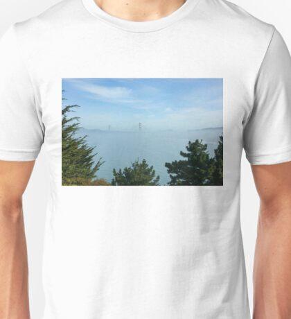 San Francisco Fog - Golden Gate Bridge Framed by Treetops Unisex T-Shirt