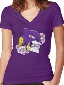 Catwoman Skull Women's Fitted V-Neck T-Shirt