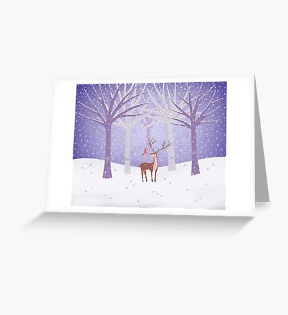 Deer - Squirrel - Winter - Snow - Forest Greeting Card