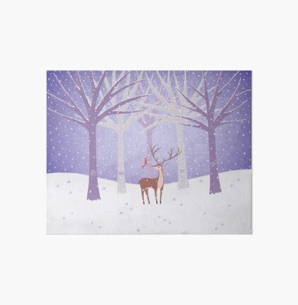 Deer - Squirrel - Winter - Snow - Forest Art Board