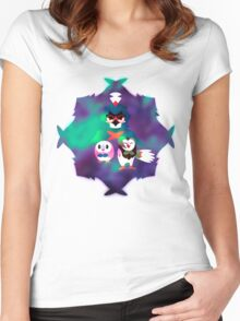 Rowlet Evolutions Pokemon Blur Women's Fitted Scoop T-Shirt