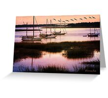 Boats at Anchor~ Evening Tranquility Greeting Card