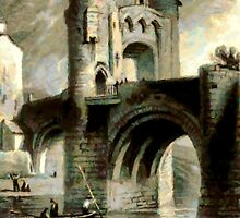 A digital painting of Raglan Castle Gateway and Bridge, Monmouthshire, Wales in 1853 by Dennis Melling