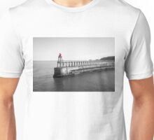 Scenic view of Whitby Pier in black and white Unisex T-Shirt
