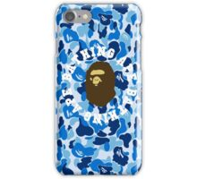 a bathing ape camo blue round text iPhone Case/Skin