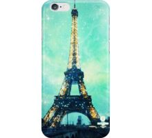 Eiffel Tower, Starry Night, Teal iPhone Case/Skin
