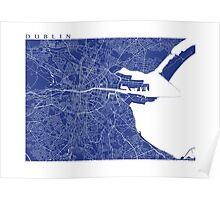 Dublin Map (French Blue) Poster