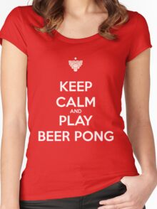 Keep Calm and Play Beer Pong Women's Fitted Scoop T-Shirt