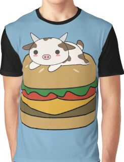 Kawaii and cute cow on a burger Graphic T-Shirt