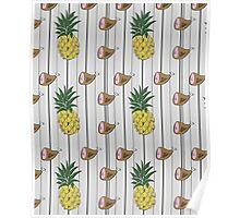 Ham & Pineapple Pinstripe Poster