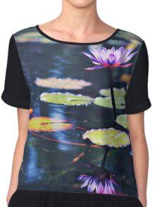 Purple water lily reflection. Chiffon Top