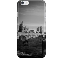 Whitby Abbey and cemetery during the night in North Yorkshire,UK. iPhone Case/Skin
