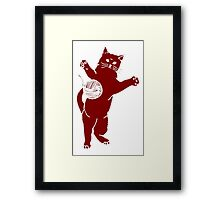 Maroon Cat And Yarn Framed Print