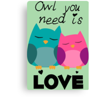Owl You Need Is Love Canvas Print