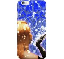 Blond girl is blowing snowflakes iPhone Case/Skin