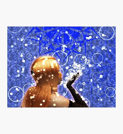 Blond girl is blowing snowflakes Photographic Print