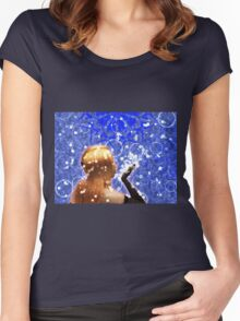 Blond girl is blowing snowflakes Women's Fitted Scoop T-Shirt