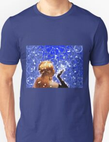 Blond girl is blowing snowflakes T-Shirt