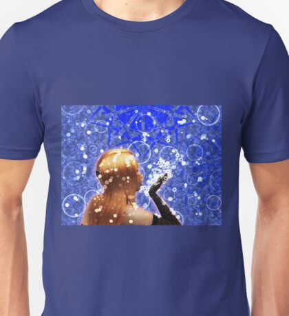Blond girl is blowing snowflakes Unisex T-Shirt