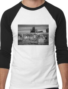Whitby Abbey and cemetery during the night  Men's Baseball ¾ T-Shirt