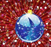 Blue Christmas ball on sparkle red background by AnnArtshock