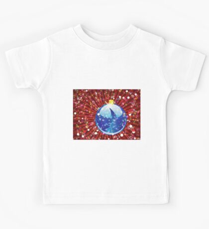 Blue Christmas ball on sparkle red background Kids Tee