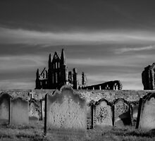 Whitby Abbey and cemetery during the night  by Stanciuc